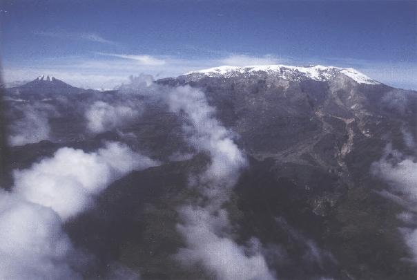 Снежный покров вулкана Руиз в Колумбии, на более низких склонах которого расположены плантации кофе
