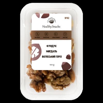 Healthy Snacks Грецкий орех +Миндаль +Фундук 100г