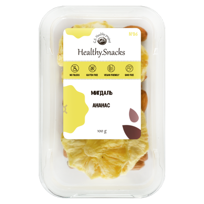 Healthy Snacks Миндаль +Ананас 100г