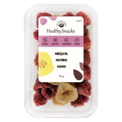 Healthy Snacks Миндаль +Банан +Малина 80г