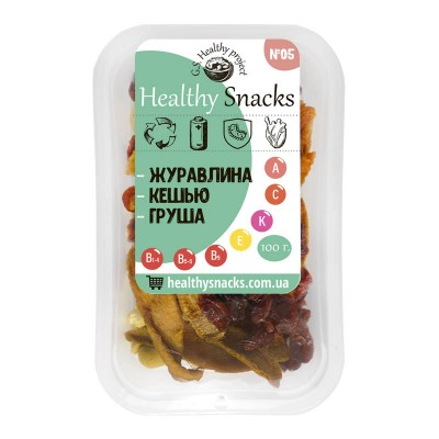 Healthy Snacks Кешью +Клюква +Груша 100г