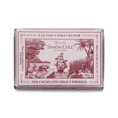 Черный шоколад Simon Coll Cacao и Чили 70% 200г
