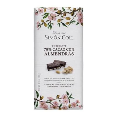 Черный шоколад Simon Coll с Миндалем 70% 100г